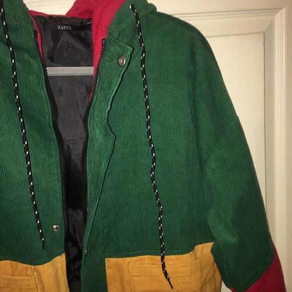 Zaful Jackets Coats Corduroy Color Block Zip Up Jacket Poshmark